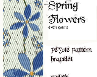 Peyote Pattern for bracelet: Spring Flowers - INSTANT DOWNLOAD pdf