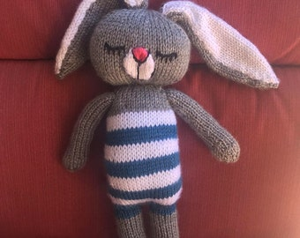 Sleepy Bunny Doll, Knitted Animal