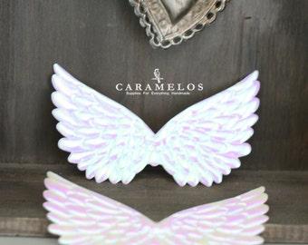 "2 Iridescent White Embossed Fabric Angel Wings 4.75"""