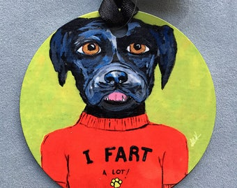 Farting Dog Ornament - Round Aluminum Holiday Christmas Tree Ornament - Funny Black Dog Ornament - Black Labrador Gift - Black Dog Gift