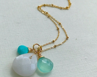 White Jade, Turquoise, and Chalcedony Briolette Simple Triple Necklace