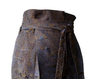 Pants short vintage distressed bronze and blue add fabric