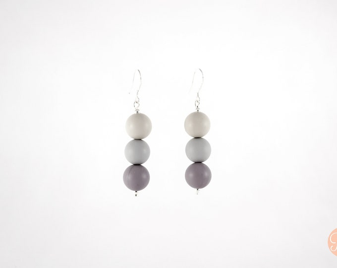 Mini Silicone Beaded Drop Earrings in three tones of Grey.