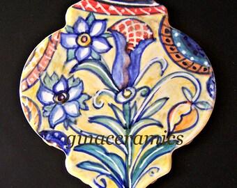 Beautiful hand painted  Lozenge shaped ceramic tile