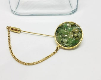 Vintage gold chipped Jade lapel pin brooch stick pin