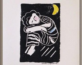 Linocut print, hand pulled, original art, woman, dreaming, moon