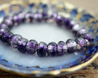 Purple Silver Roller Beads Large Hole Beads Silver Lined Beads 6x9mm Purple with Silver Beads 3mm Hole (10)