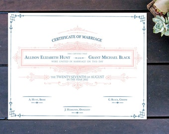 "Apothecary Inspired Custom Marriage Certificate - 13"" x 10"""