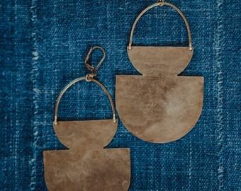 Vasorum Brass Shield Earrings