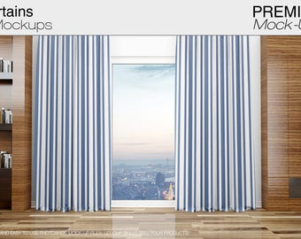 Curtains | Curtains Mockup | Photoshop Curtains Mockup | Linen Drapes | Curtain Panel | Custom Curtains|