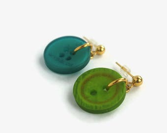 Dangling earrings made from recycled buttons, blue earring, green earring, recycled button, stainless steel
