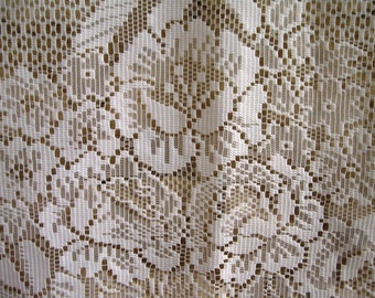FRENCH LACE CURTAIN / Vintage french curtain / White lace curtain / Floral / Filet lace curtain / France / Shabby / Cottage