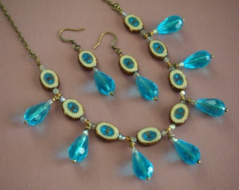 retro chic aqua crystal teardrop and Picasso Czech glass beaded chain necklace with matching earrings. purchase separately or as a set!