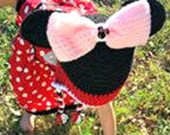 Handmade Crochet girl mouse Hat, Mouse hat, Crochet hat, photo prop, Made to order, Customizable colors, Big bow hat, earflap beanie, winter