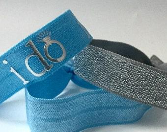 """Blue """"I do""""  Hair Tie Set, Bridal, Wedding Hair Ties, I Do Hair Ties, Bride, Wedding, Something Blue Hair Ties, Engagement Hair Ties"""