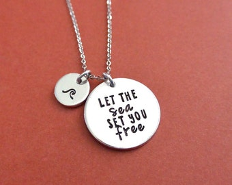 Let The Sea Set You Free Necklace with Wave Charm - Hand Stamped Jewelry - Inspirational - Travel Gift - Traveler - Personalized Gift