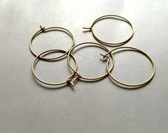 50pcs Raw Brass Ear Wire Earrings Hoop Findings 55mm - F907