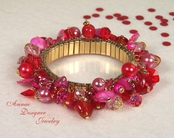 Red & pink heart cha-cha bracelet, crystal, glass, mother-of-pearl