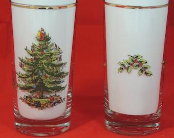 "2 - SPODE Christmas Tree 5.5"" 12 oz Glass Tumblers Gold Rim Set of 2 Very Good"