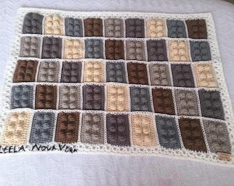 Lego Theme Baby Blanket, Crochet Lego Blanket, Lego Baby Blanket, Lego Afghan, Crochet Lego Throw, Lego Kids Throw, Lego Lap Blanket