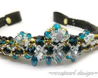 "Blue and gold Browband for horse with Rock Crystal Gemstone - ""Miserys Crown"""
