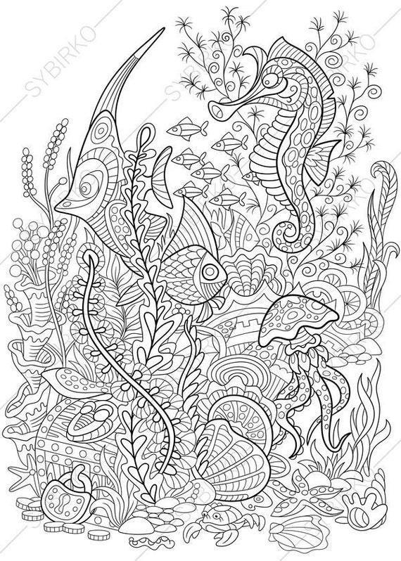 Ocean World Seahorse Jellyfish Tropical Fishes Treasure