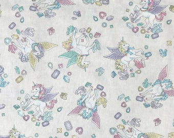 SALE - Cosmo Japanese Textiles - Unicorn in White Sparkle