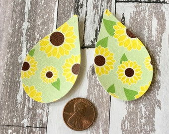 Leather Shapes Earrings Yellow Sunfower Floral Faux Leather Pleather Shapes Cut Outs Earring Supplies Do It Yourself Craft Jewelry Supplies