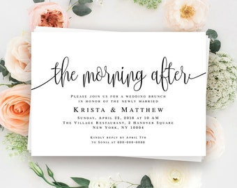 Morning after wedding brunch invitations Post wedding brunch invitation Editable invitation template Printable invitation templates #vm41