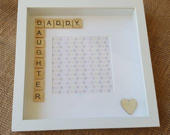 Daddy and daughter scrabble photo frame. Fathers day gift, gift for him, birthday, christmas, new parent