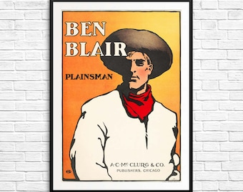 book cover art print, book posters, reading posters, large orange poster, large cowboy art, book cover posters, large library posters