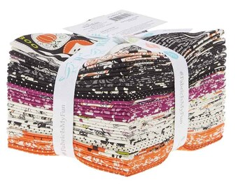 Riley Blake Eek Boo Shriek Fat Quarter Bundle (18 pcs) by Carina Gardner FQ-6010-18 black orange cotton precut quilting fabric halloween
