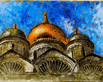 "Oil painting ""Domes"". Domes of the Archangel Cathedral of the Moscow Kremlin"