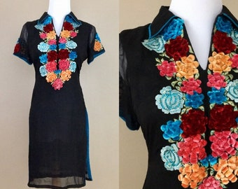Vintage 1960s / Floral Ribbonwork Black Crepe Embellished Embroidered Flowers and Sequins Mini Dress / XS-S
