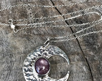 Sterling Silver Ruby Moon Crescent Necklace - Solid Sterling Silver - Genuine Mysore Star Ruby - Rustic Hammer Forged - Adjustable Length