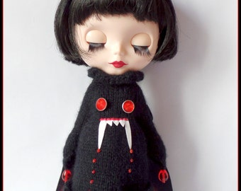 "PDF knitting and crochet pattern for Vampire dress, petticoat and felt headband for 12"" Blythe"