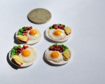 Dollhouse realistic food , miniature food , realistic miniatures, ,1:12 Scale, Incredible Detail, eggs, breakfast, bacon, bread, butter.