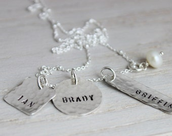 3 names mothers necklace | hand stamped sterling silver mommy neckace | personalized name tag jewelry | push present mixed shapes
