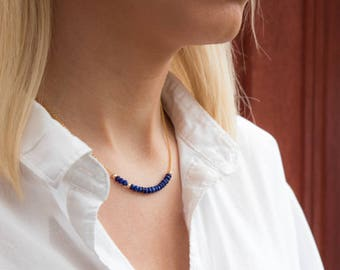 Lapis Lazuli Beaded Necklace, Girlfriend Gift for Her, Lapis Lazuli Jewelry, Layering Necklace, Dainty Necklace, Gold, Silver Necklace, Boho