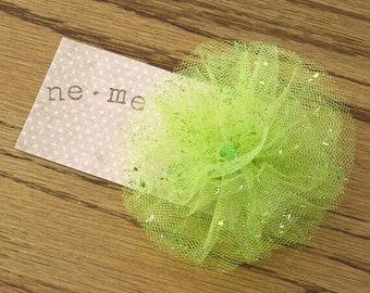 Green Glitter Puff Hair Clip, Green Clip, Green  Hair Accessory