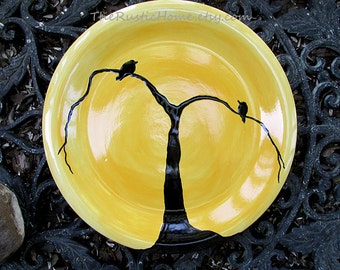 Blackbirds dinner plate pottery made to order tableware kiln fired choose your colors mix and match custom plates branches custom dinnerware
