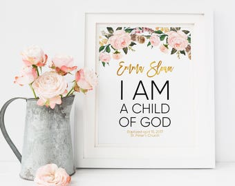 I Am A Child Of God Personalized Baby Kids Room Decor Baby Girl Baby Girl Gift First Communion Gift, Christening Gift, Baptism Gift Girl B2