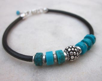 Turquoise leather bracelet, black leather cuff, turquoise jewelry, turquoise bracelet,  blue gemstone bangle bracelet, sterling silver beads