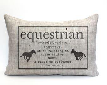 """equestrian gift, equestrian pillow, horse pillow, horses pillow, horse decor, horse lovers gift """"The Equestrian"""""""