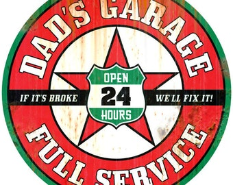 Dads Garage Wall Decal Rusted Red #45827