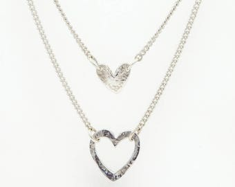 Silver double heart layered necklace