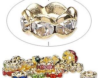 Swarovski elements Rondelle - Gold-plated brass, mixed rhinestones, 8x4mm - #2664