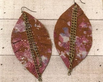 Purple on Brown Chain Feather Earrings