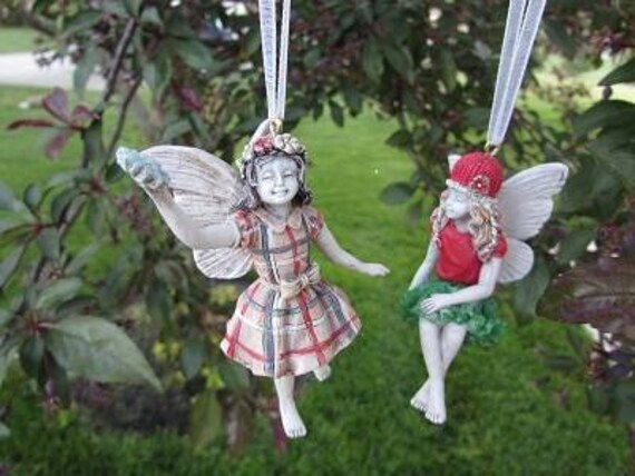 """Santa's Little Girl Fairy Ornaments  (Choose One) Plaid Dress 3"""" Tall or Red & Green Dress (2"""" Tall) Made of Resin"""
