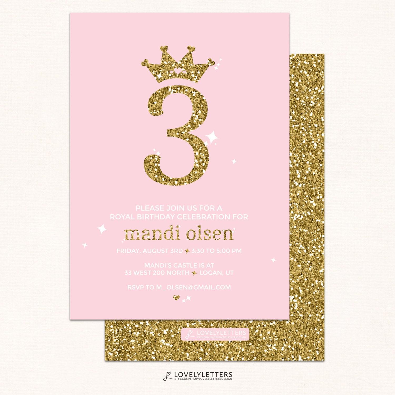 Princess Birthday Invitation / Pink & Gold Invitation /